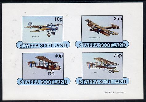 Staffa 1981 Early Aircraft #1 (Eindecker, Handley Page, Gunbus & DH2) imperf  set of 4 values unmounted mint