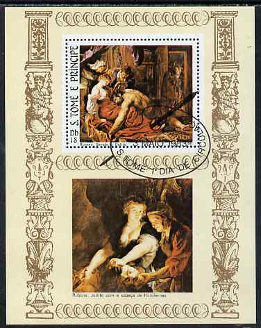 St Thomas & Prince Islands 1983 Paintings by Rubens - Samson & Delilah perf s/sheet fine cto used