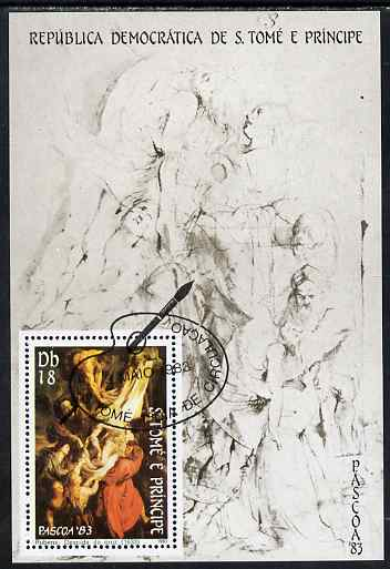 St Thomas & Prince Islands 1983 Paintings by Rubens - Descent from the Cross perf s/sheet fine cto used