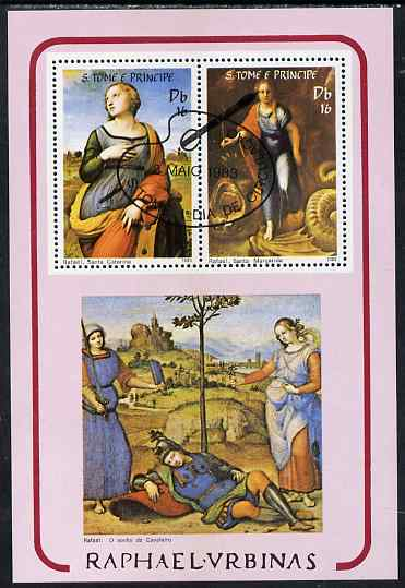 St Thomas & Prince Islands 1983 Paintings by Raffael perf sheetlet containing 2 values fine cto used