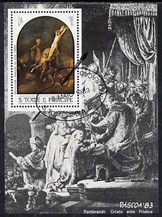 St Thomas & Prince Islands 1983 Paintings by Rembrandt - Raising the Cross perf s/sheet fine cto used