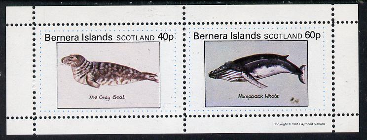 Bernera 1981 Marine Animals (Grey Seal & Humpback Whale) perf  set of 2 values (40p & 60p) unmounted mint