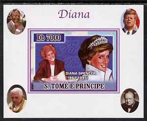 St Thomas & Prince Islands 2007 Princess Diana #2 individual imperf deluxe sheet with Churchill, Kennedy, Mandela & the Pope in background, unmounted mint. Note this item is privately produced and is offered purely on its thematic appeal