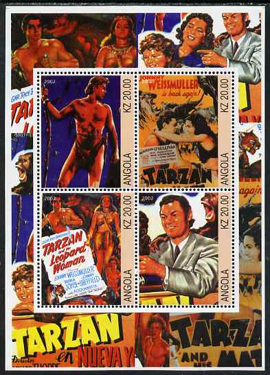 Angola 2002 Tarzan perf sheetlet containing 4 values unmounted mint. Note this item is privately produced and is offered purely on its thematic appeal