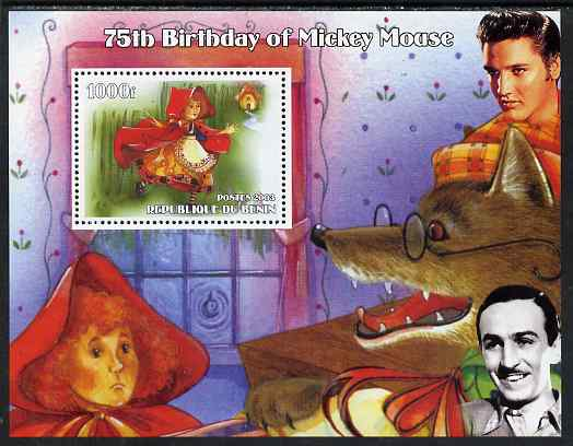 Benin 2003 75th Birthday of Mickey Mouse - Little Red Riding Hood #03 (also shows Elvis & Walt Disney) perf m/sheet unmounted mint