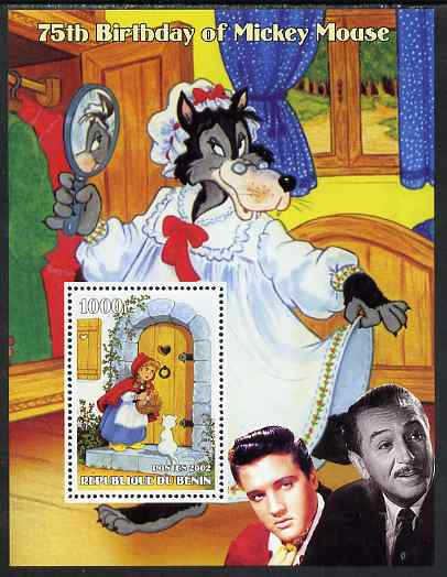 Benin 2002 75th Birthday of Mickey Mouse - Little Red Riding Hood #01 (also shows Elvis & Walt Disney) perf m/sheet unmounted mint