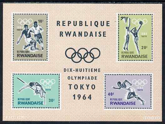 Rwanda 1964 Tokyo Olympic Games perf m/sheet unmounted mint, SG MS83a, stamps on olympics, stamps on football, stamps on running, stamps on high jump, stamps on basketball