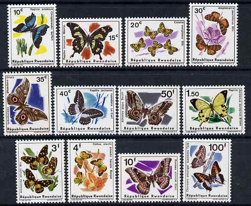 Rwanda 1965 Butterfliess perf set of 12 unmounted mint, SG 112-23