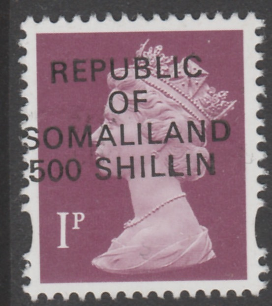 Somaliland 1998 Provisional 500 Shillin on 1p Machin Type 1 without Star overprint (only 1800 printed) unmounted mint - normal retail �49.50