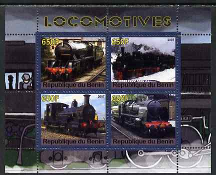 Benin 2007 Locomotives #2 perf sheetlet containing 4 values unmounted mint