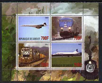 Djibouti 2007 Railways & Concorde #2 perf sheetlet containing 4 values unmounted mint. Note this item is privately produced and is offered purely on its thematic appeal