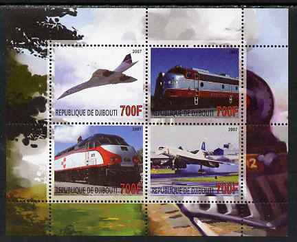 Djibouti 2007 Railways & Concorde #3 perf sheetlet containing 4 values unmounted mint. Note this item is privately produced and is offered purely on its thematic appeal, stamps on railways, stamps on aviation, stamps on concorde
