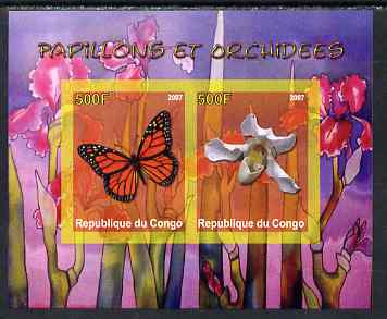 Congo 2007 Butterflies & Orchids #1 imperf sheetlet containing 2 values unmounted mint. Note this item is privately produced and is offered purely on its thematic appeal