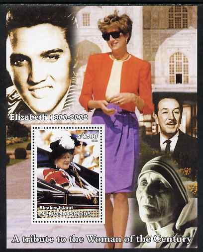 Bleaker Island (Falkland Islands) 2002 A Tribute to the Woman of the Century #2 Queen Mother perf souvenir sheet unmounted mint (Also shows Diana, Mother Teresa, Elvis & ...
