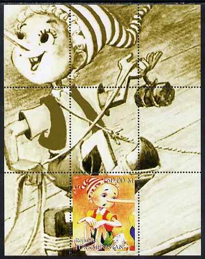 Turkmenistan 2000 Pinocchio perf s/sheet #3 unmounted mint. Note this item is privately produced and is offered purely on its thematic appeal