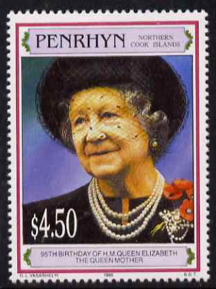 Cook Islands - Penrhyn 1995 Queen Mother's 95th Birthday $4.50 unmounted mint SG 515