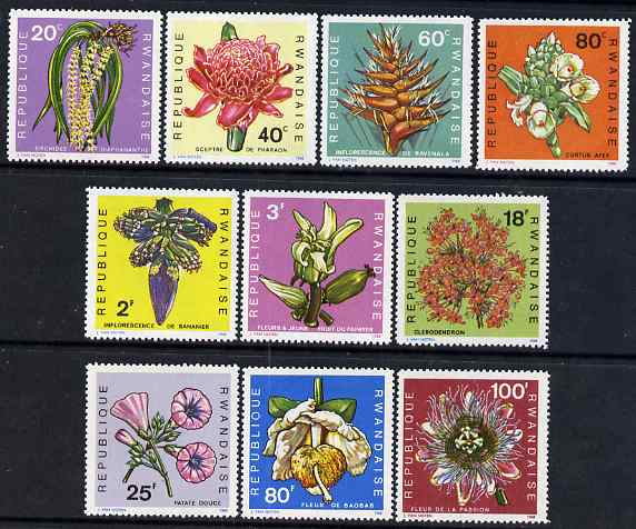 Rwanda 1968 Flowers perf set of 10 unmounted mint, SG 261-70
