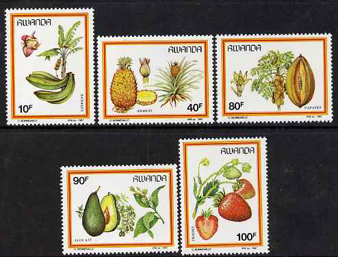 Rwanda 1987 Fruits perf set of 5 unmounted mint, SG 1297-1301
