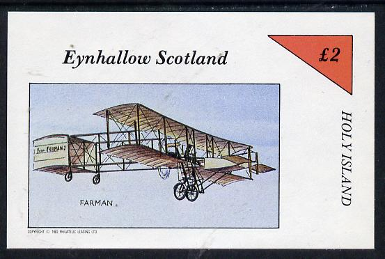 Eynhallow 1982 Early Aircraft #1 (Farman) imperf deluxe sheet (�2 value) unmounted mint