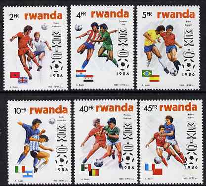 Rwanda 1986 Football World Cup perf set of 6 unmounted mint, SG 1267-72, stamps on football