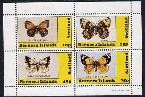 Bernera 1981 Butterflies (Gatekeeper, Clouded Yellow etc) perf  set of 4 values (10p to 75p) unmounted mint