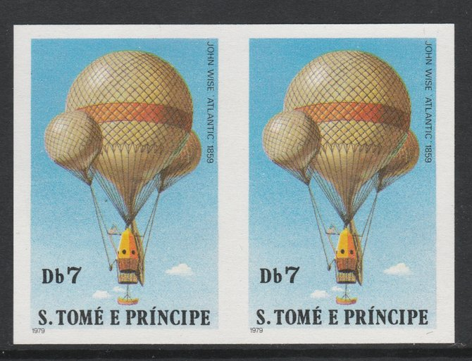 St Thomas & Prince Islands 1980 Balloons 7Db (John Wise) imperforate pair on ungummed paper (ex archive proof sheet)