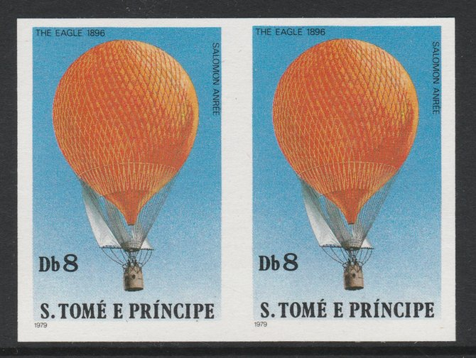 St Thomas & Prince Islands 1980 Balloons 8Db (Anr\8Ee's Eagle) imperforate pair on ungummed paper (ex archive proof sheet)