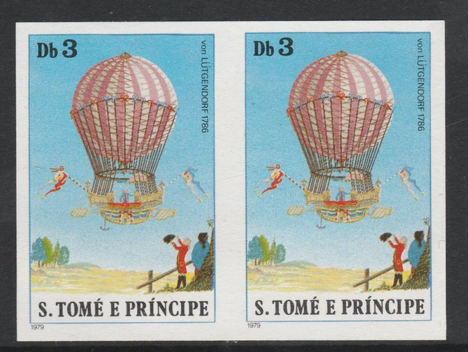 St Thomas & Prince Islands 1980 Balloons 3Db (Von L\9Ftgendorf) imperforate pair on ungummed paper (ex archive proof sheet)