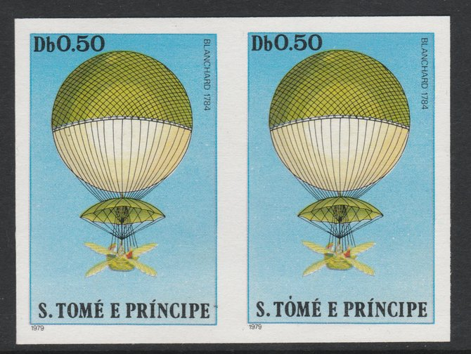 St Thomas & Prince Islands 1980 Balloons 0.5Db (Blanchard) imperforate pair on ungummed paper (ex archive proof sheet)