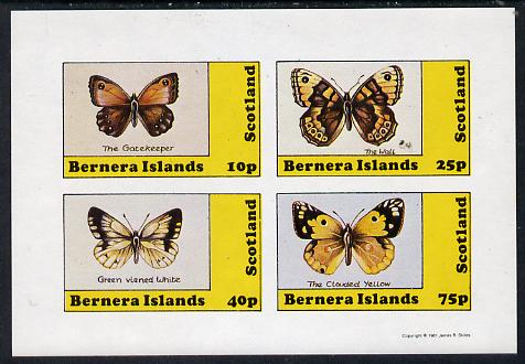 Bernera 1981 Butterflies (Gatekeeper, Clouded Yellow etc) imperf  set of 4 values (10p to 75p) unmounted mint