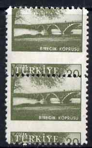 Turkey 1959-60 Euphrates Bridge 20k vert pair with 6.5mm shift of horiz perfs mounted mint, as SG 1857