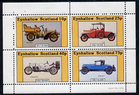 Eynhallow 1981 Vintage Cars #4 (Peugeot, Fiat, Mercedes & Chrysler) perf  set of 4 values (10p to 75p) unmounted mint