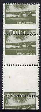 Turkey 1959-60 Euphrates Bridge 20k vert gutter strip of 3 with 6.5mm shift of horiz perfs unmounted mint, as SG 1857