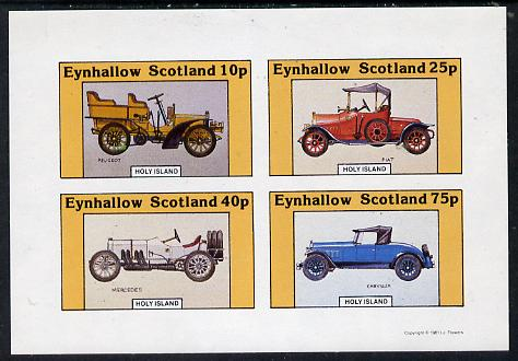 Eynhallow 1981 Vintage Cars #4 (Peugeot, Fiat, Mercedes & Chrysler) imperf  set of 4 values (10p to 75p) unmounted mint