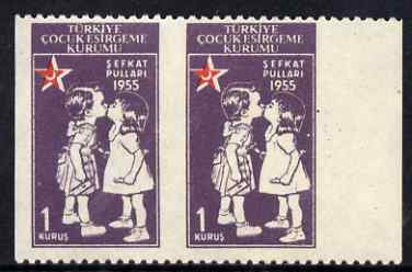 Turkey 1955 Postal Tax Child Welfare 1k marginal horiz pair with vertical perfs omitted unmounted mint