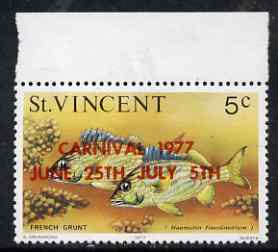 St Vincent 1977 Fish 5c with Carnival overprint in red, unmounted mint SG 531a