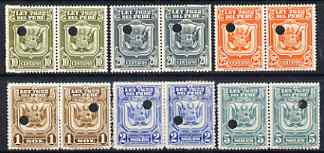 Peru 1934 Essay proof pairs for 10c, 20c, 25c, 1s, 2s & 5s in various colours (inscribed LEY 7622) each with Waterlow & Sons security puncture, with gum but some with adhesion from being mounted in printer's archive.