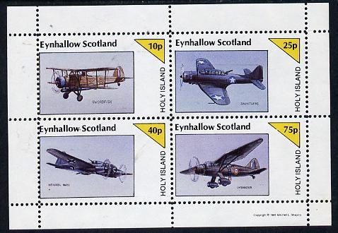 Eynhallow 1981 WW2 Aircraft (Swordfish, Dauntless, Heinkel 111 & Lysander) perf  set of 4 values (10p to 75p) unmounted mint