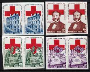 Togo 1978 Red Cross Anniversary set of 4 in imperf pairs from limited printing, unmounted mint as SG 1309-12