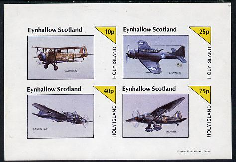 Eynhallow 1981 WW2 Aircraft (Swordfish, Dauntless, Heinkel 111 & Lysander) imperf  set of 4 values (10p to 75p) unmounted mint