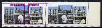 Stroma 1968 Churchill 2s horiz pair with purple (frame, name & value) misplaced on one stamp and omitted on the other (slight set-off on gummed side and minor wrinkles probably due to paper jam which caused the error)