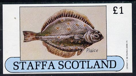 Staffa 1982 Fish #08 (Plaice) imperf souvenir sheet (�1 value) unmounted mint