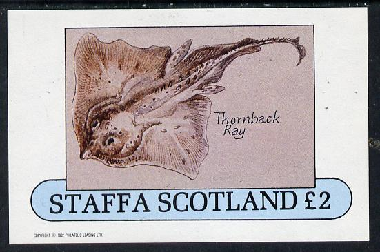 Staffa 1982 Fish #08 (Thornback Ray) imperf deluxe sheet (�2 value) unmounted mint
