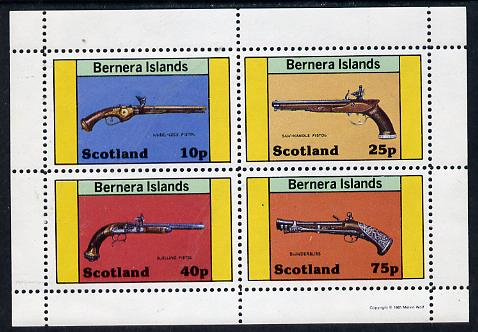 Bernera 1981 Pistols (Wheel-lock, duelling, Saw-handle & Blunderbuss) perf  set of 4 values (10p to 75p) unmounted mint