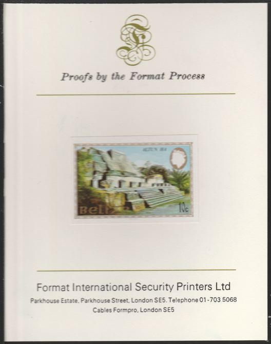 Belize 1983 Maya Monuments 10c Altun Ha imperf proof mounted on Format International proof card, as SG 747