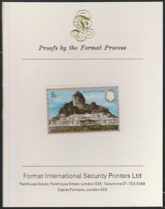Belize 1983 Maya Monuments 15c Xunantunich imperf proof mounted on Format International proof card, as SG 748