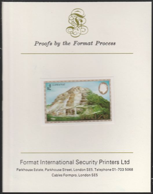 Belize 1983 Maya Monuments $2 Lamanai imperf proof mounted on Format International proof card, as SG 750