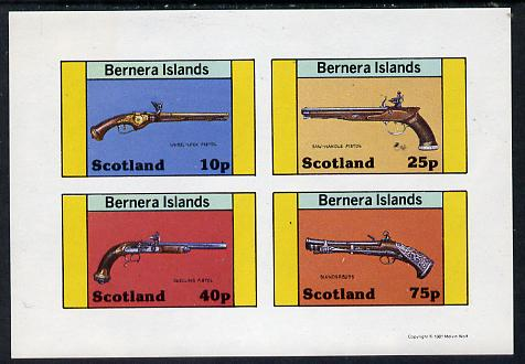 Bernera 1981 Pistols (Wheel-lock, duelling, Saw-handle & Blunderbuss) imperf  set of 4 values (10p to 75p) unmounted mint