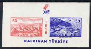 Turkey 1956 Int Fair m/sheet with superb set-off of blue on gummed side, unmounted mint