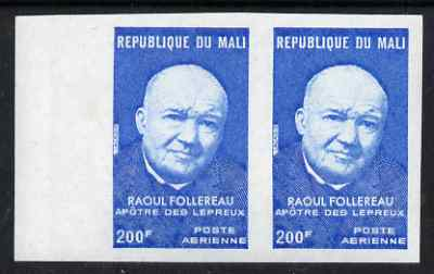 Mali 1974 Raoul Follereau (missionary) 200f imperf pair from limited printing unmounted mint, SG 469